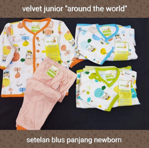 VELVET SETELAN PANJANG KANCING DEPAN NB MOTIF AROUND THE WORLD-ISI 3 PCS