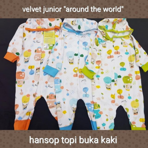 VELVET HANSOP BUKA KAKI NEW BORN TOPI MOTIF AROUND THE WORLD-ISI 3 PCS